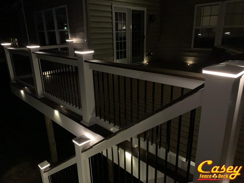 500 square foot composite lighted deck in New Market Maryland