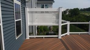 White Rails with Black Balusters and Trellis with Privacy Screen