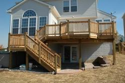 Wood deck with multi level stairs