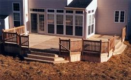 Treated Deck Multiple Board Patterns, Cedar Railings