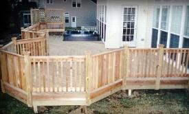 Treated Hot Tub Deck with Cedar Rails