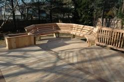 Lowered Octagon with Angled Back Cedar Bench and Planter Box in Gaithersburg MD