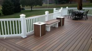 Fiberon IPE and Rosewood Planter Boxes with matching bench