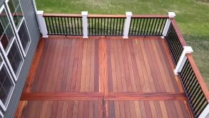Brazilian teak decking with Brazilian Tigerwood Inlay in Brunswick Crossing Maryland