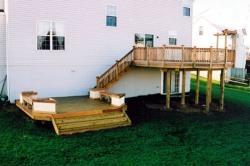 Treated deck with lower level and benches