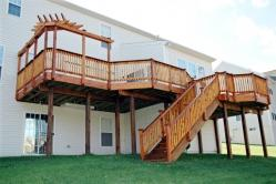 Wood deck with corner pergola