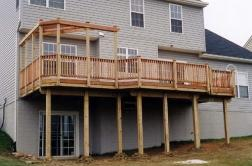 Wooden deck with corner pergola