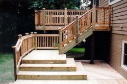 Wooden deck with platform steps