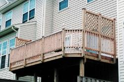 Wood deck with trellis
